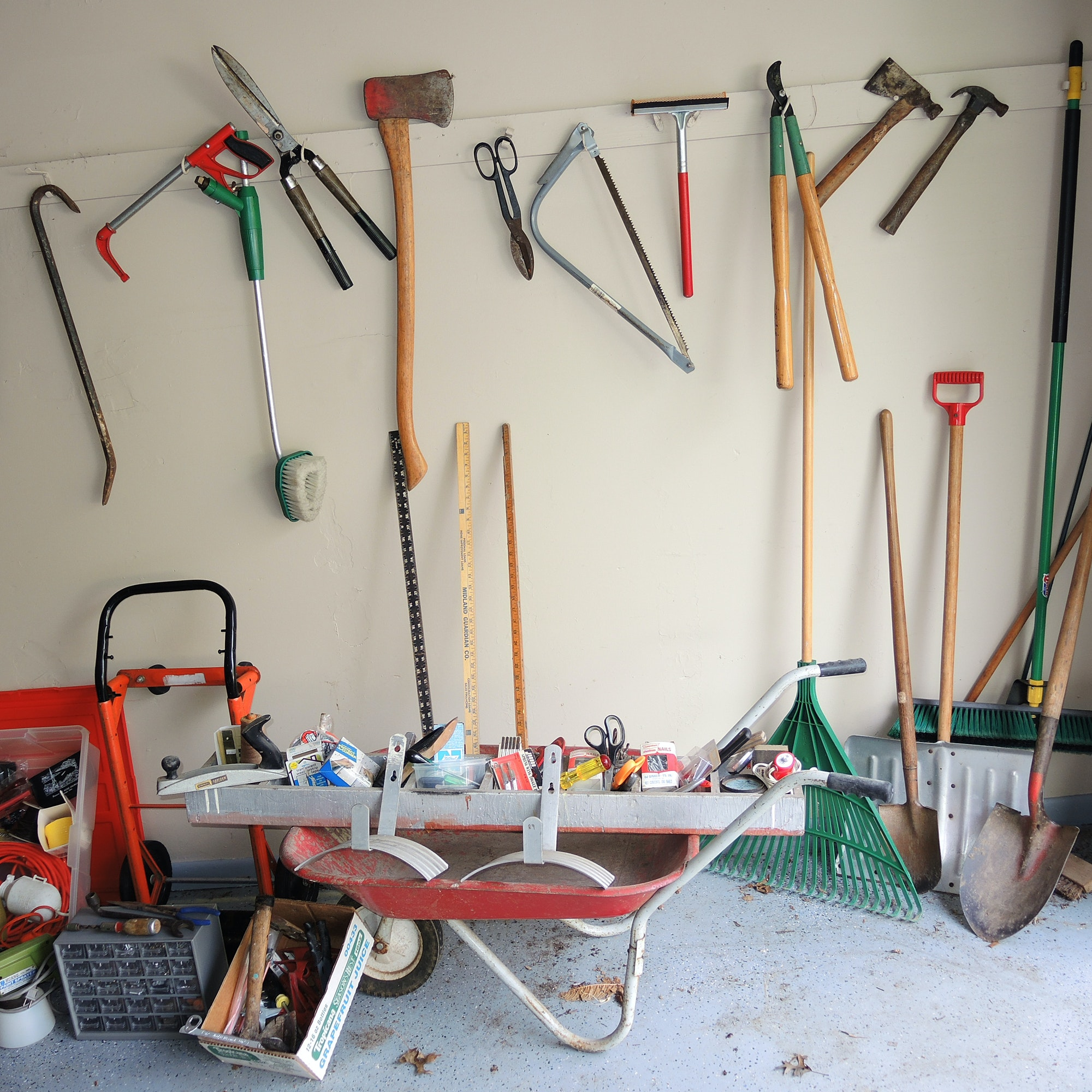 Yard and Garage Tools, Wheelbarrow, Small Parts Box and more