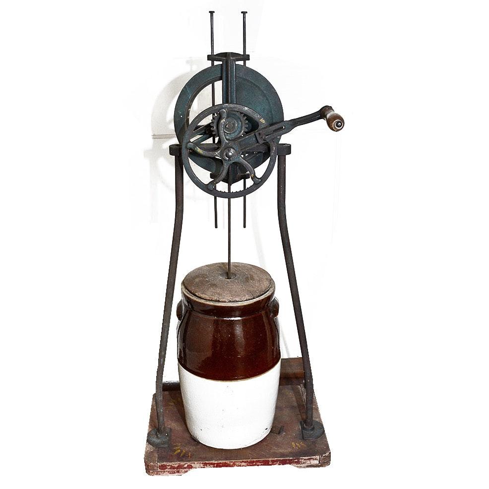 Vintage Butter Churner Machine with Ceramic Butter Churn