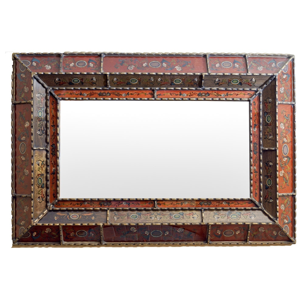 Distressed Red Framed Wall Mirror