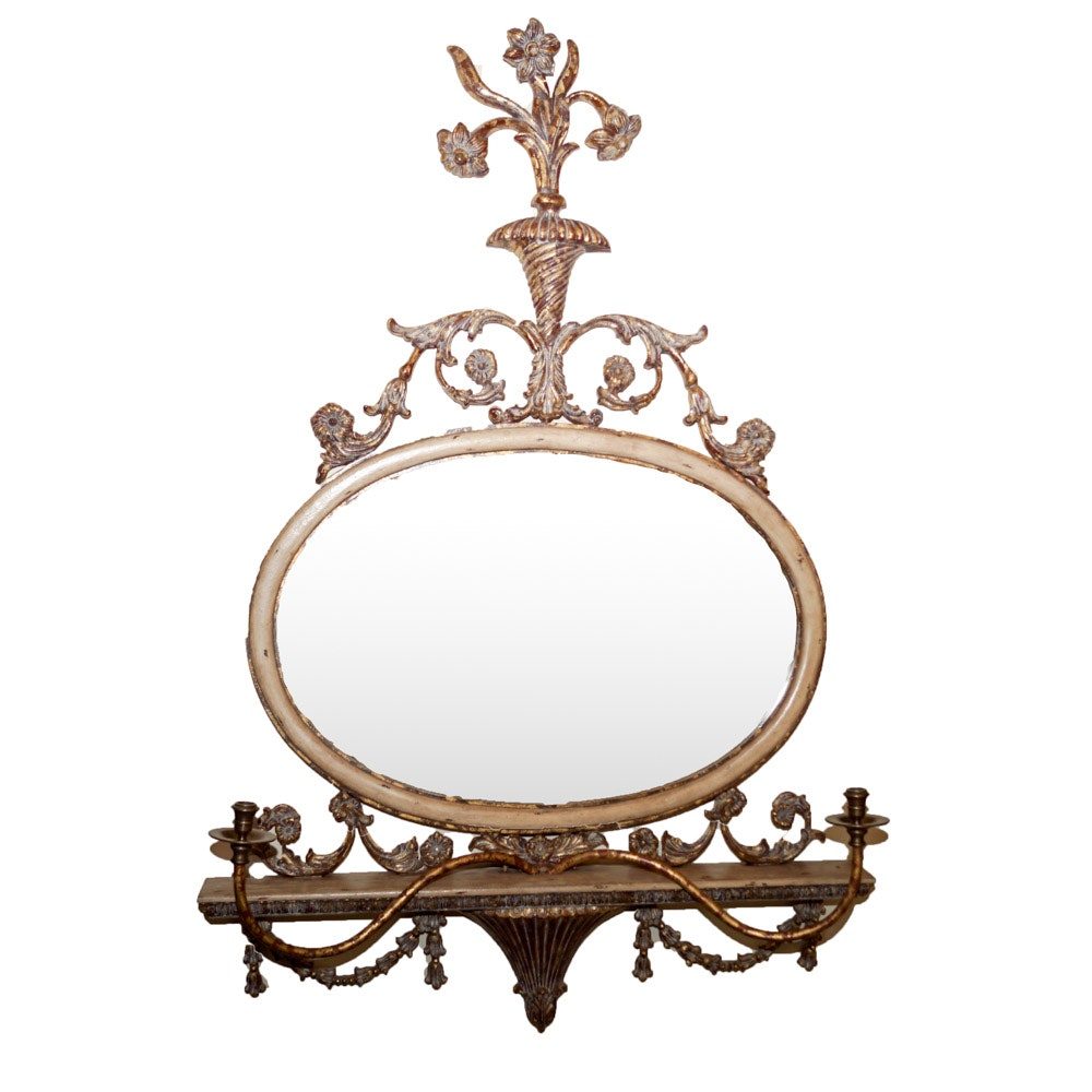 Mirror With Candleholders and Shelf