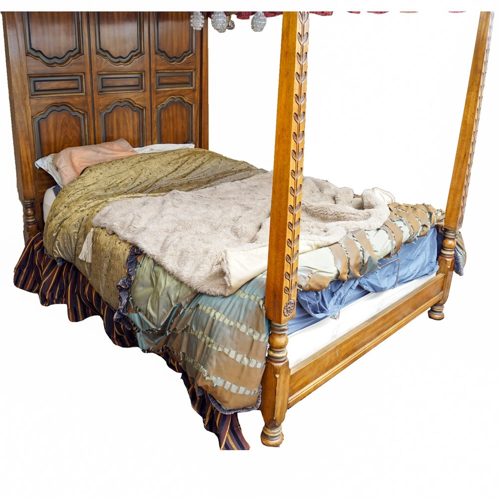 Bed Frame with Canopy and Chandelier
