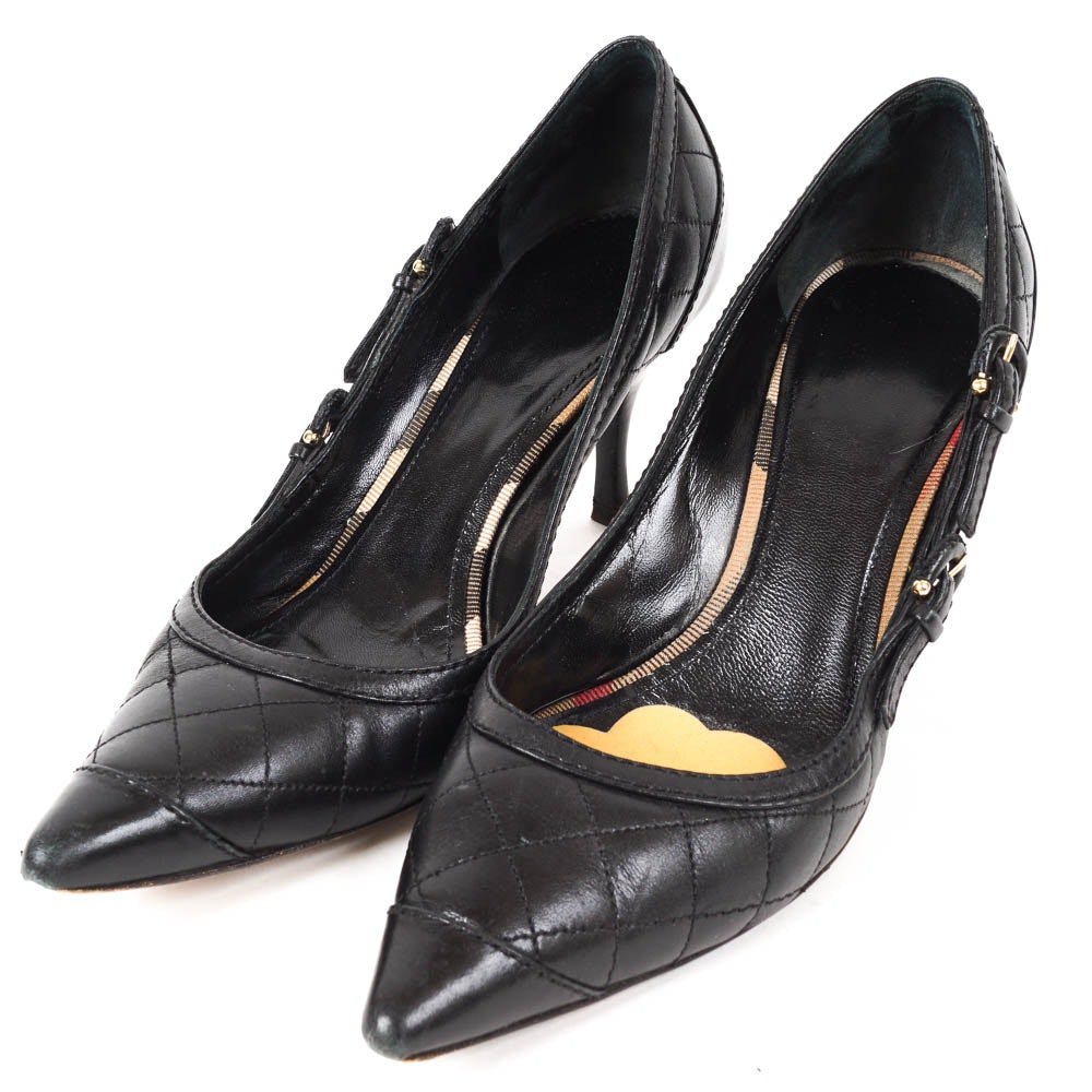 Burberry Black Quilted Leather Pumps