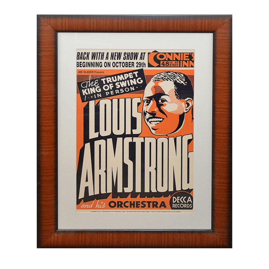 Offset Lithograph Reproduction of A 1935 Louis Armstrong Poster