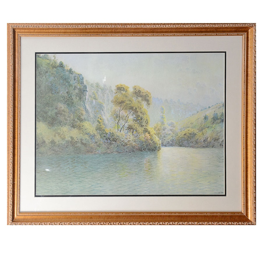 "Framed Limited Edition Offset Lithograph ""Shaker Bend"" After Paul Sawyier"