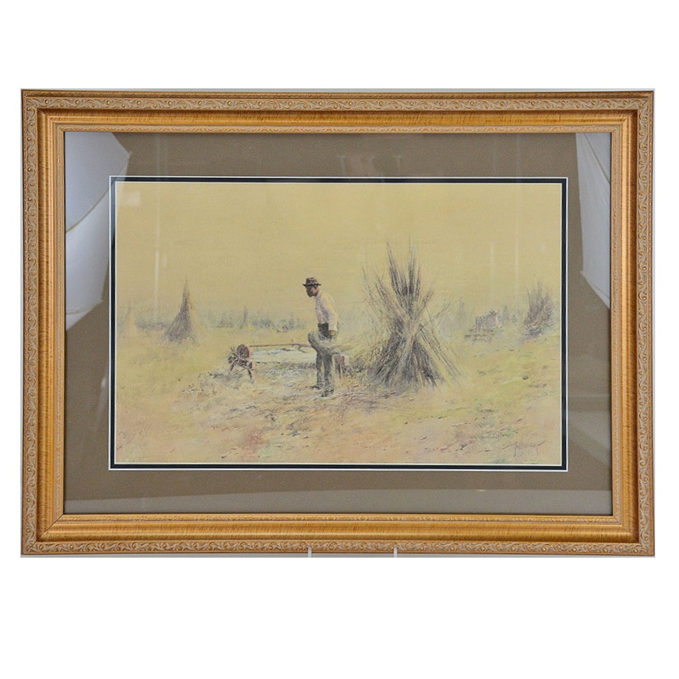 "Framed Limited Edition Colored Offset Lithograph ""Breaking Hemp"" After Paul Sawyier"