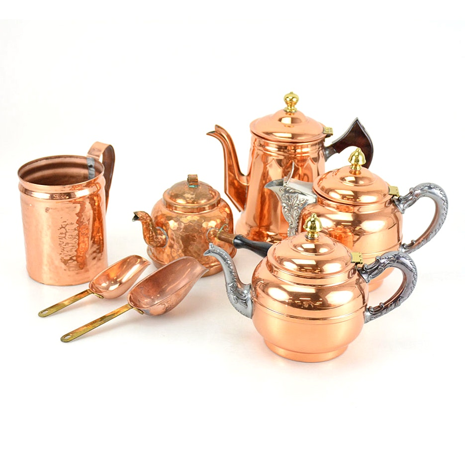 Copper and Brass Coffee, Tea, and Chocolate Pots