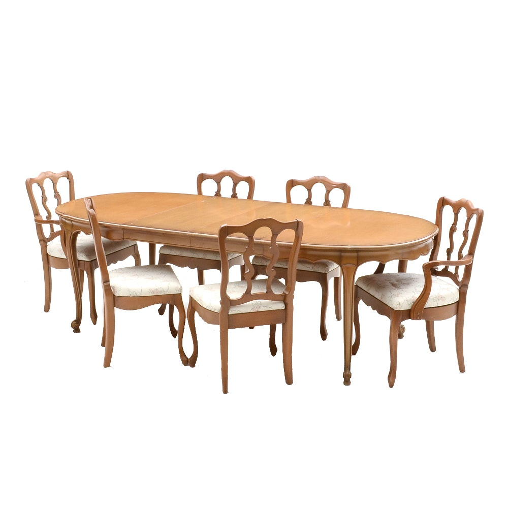 French Provincial Style Dining Table and Six Chairs