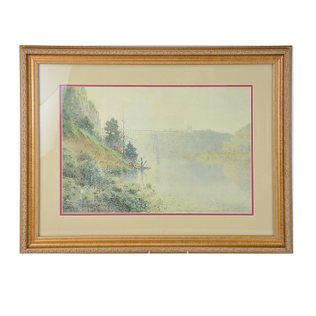 """Framed Limited Edition Offset Lithograph """"Train at High Bridge"""" after Paul Sawyier"""