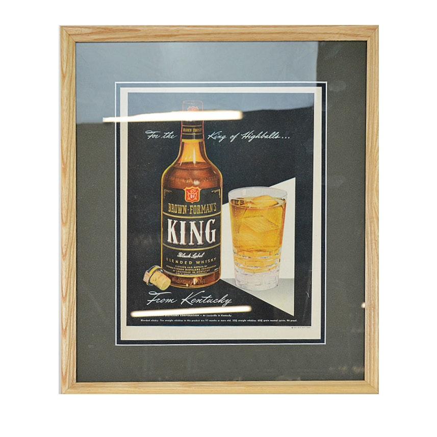 1947 Framed Original Brown-Forman King Whiskey Advertisement