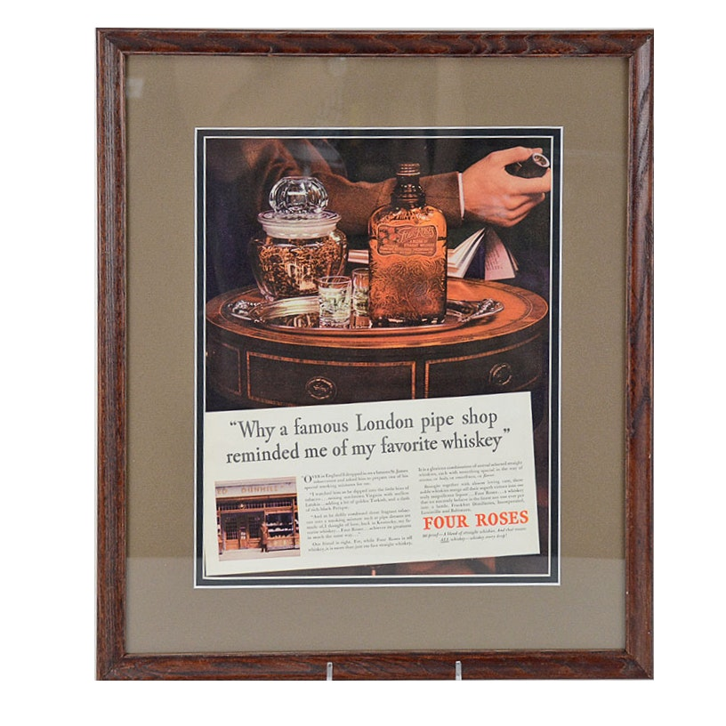 1936 Framed Original Four Roses Bourbon Advertisement