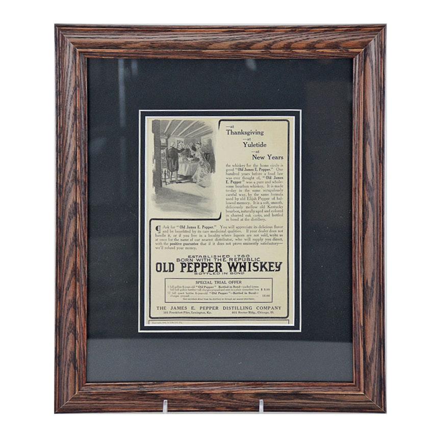 1908 Framed Original Old Pepper Whiskey Advertisement