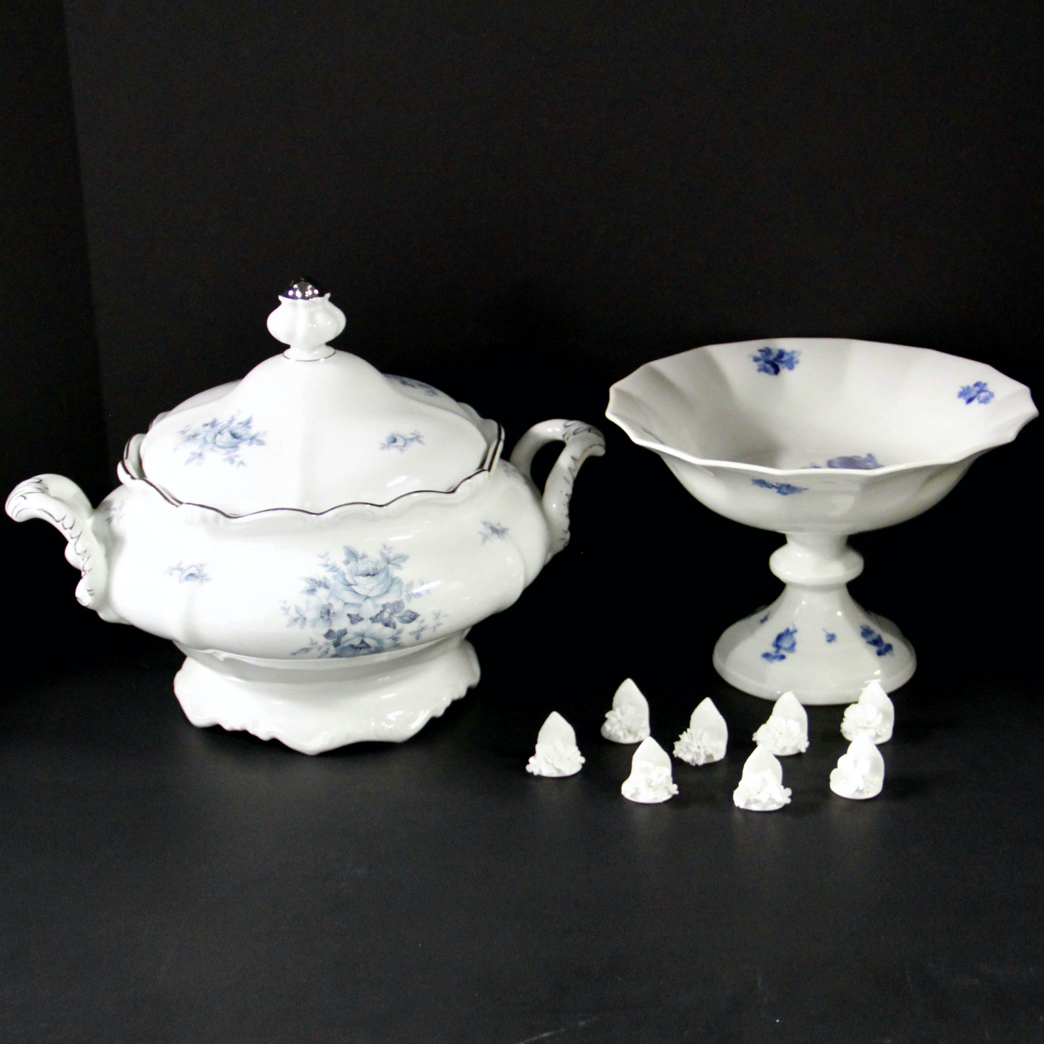 Blue and White Porcelain Tableware Including Haviland
