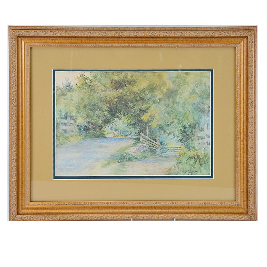 """Framed Offset Lithograph """"Country Lane"""" After Paul Sawyier"""