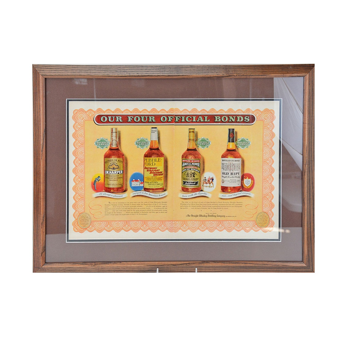 Framed Colored Offset Lithograph of a 1940's Bourbon Advertisement