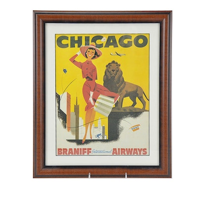 Reproduction Chicago-Braniff International Airways Travel Poster