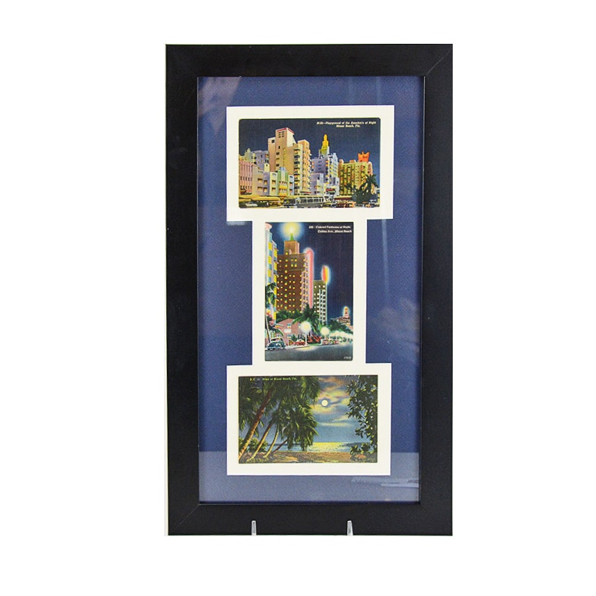 Framed Vintage Postcards of Miami Beach, Florida, at Night