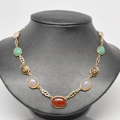 Vintage Circa 1960-1970 14K Yellow Gold Scarab Necklace