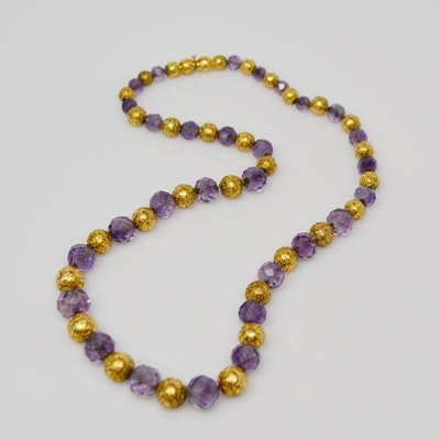 Revival Style 10K Yellow Gold Amethyst Bead Necklace