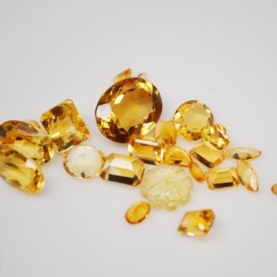 Twenty-Three Loose 77.12 CTW Natural Citrine Gemstones