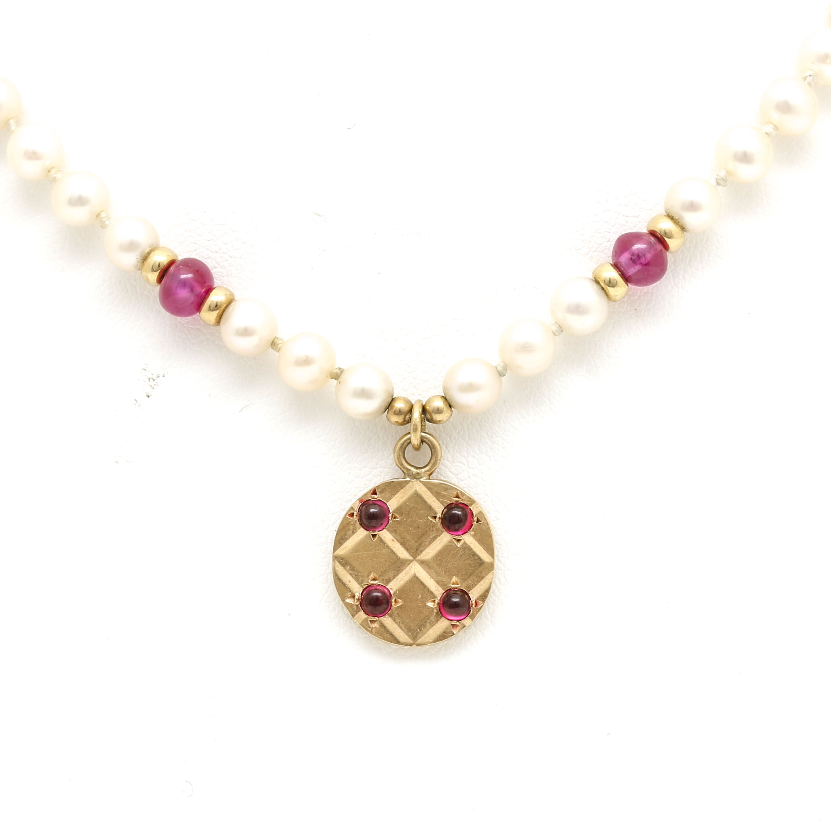 14K Yellow Gold Freshwater Pearl and Ruby Necklace