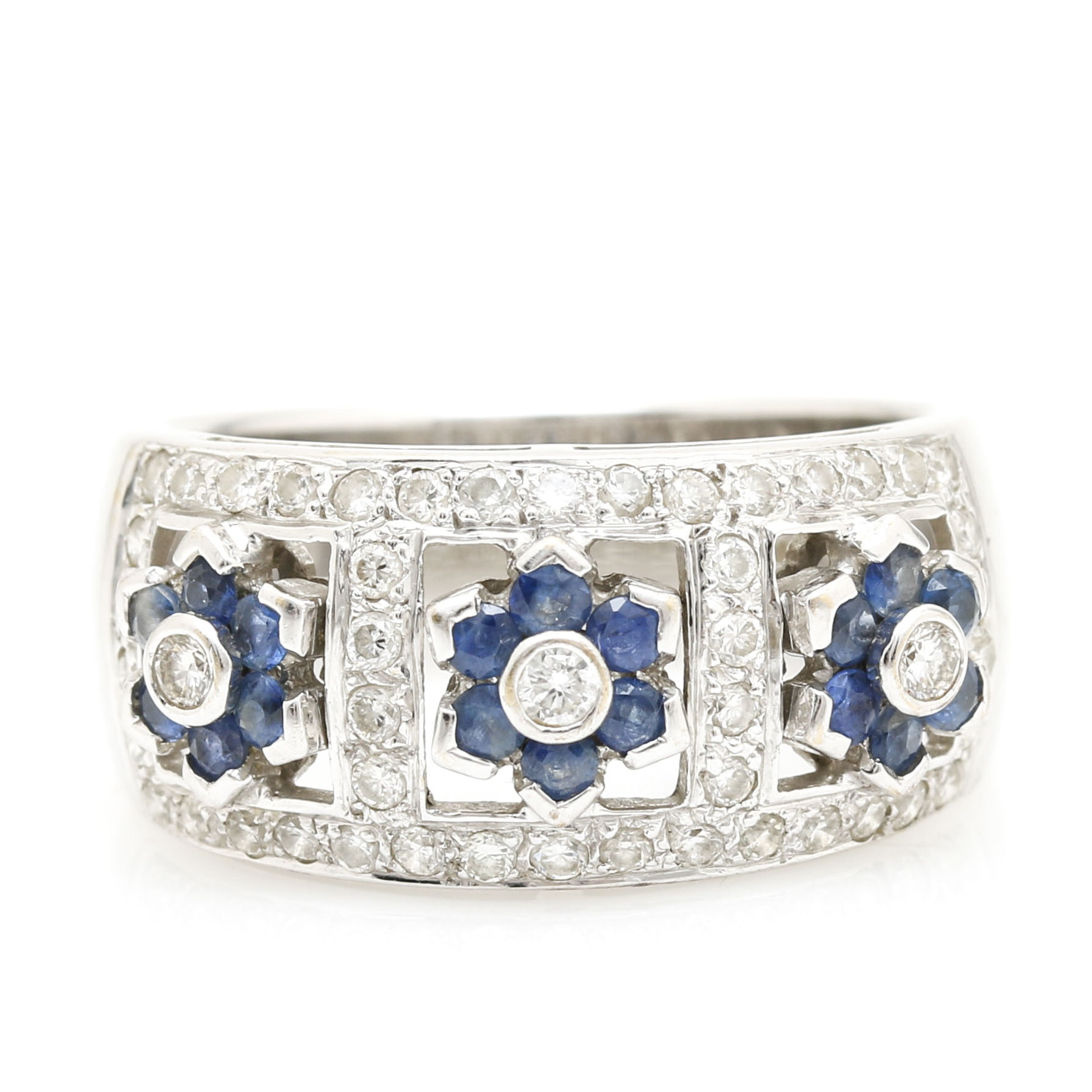 18K White Gold Sapphire and 0.33 CTW Diamond Ring