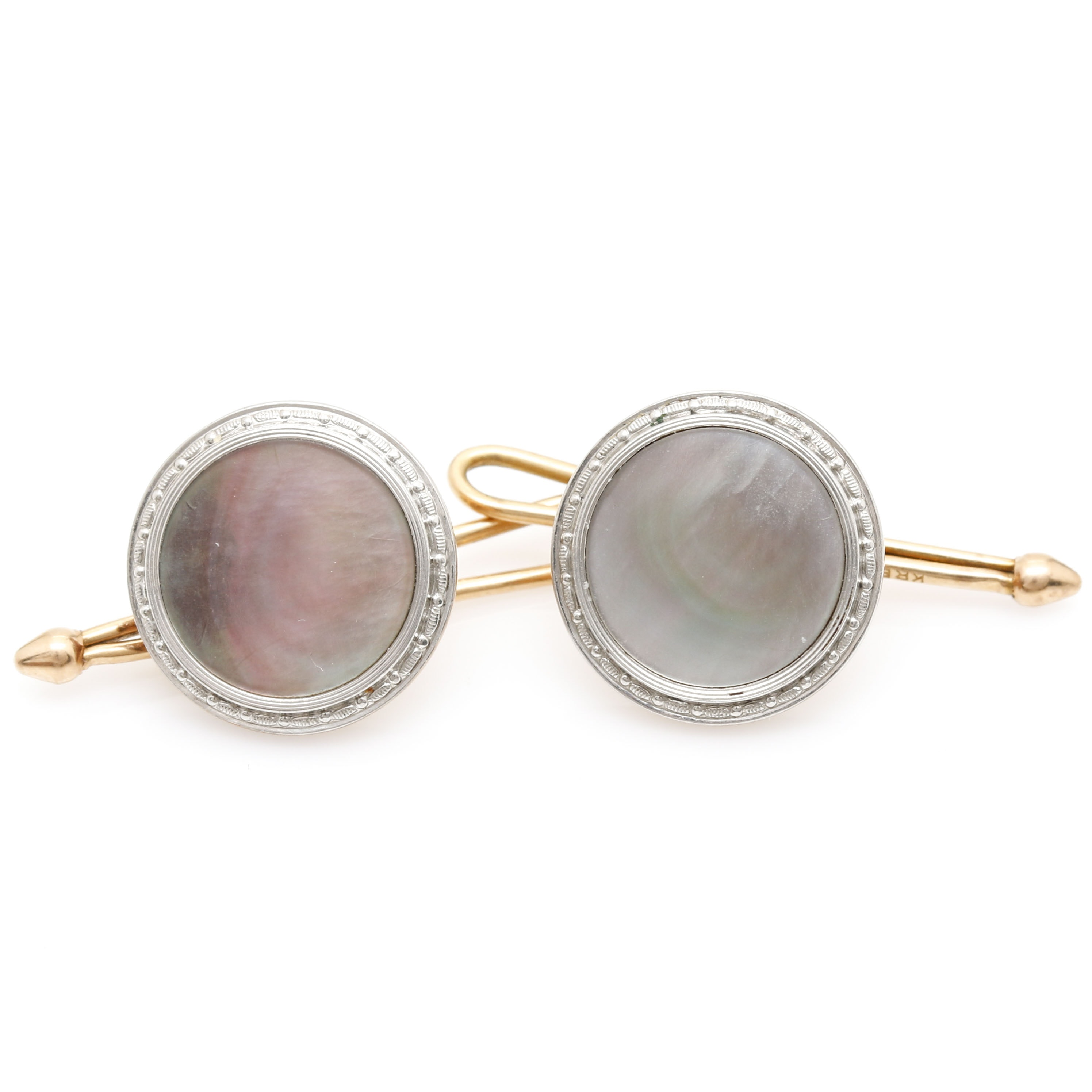 Platinum and 14K Gold Abalone Cufflinks