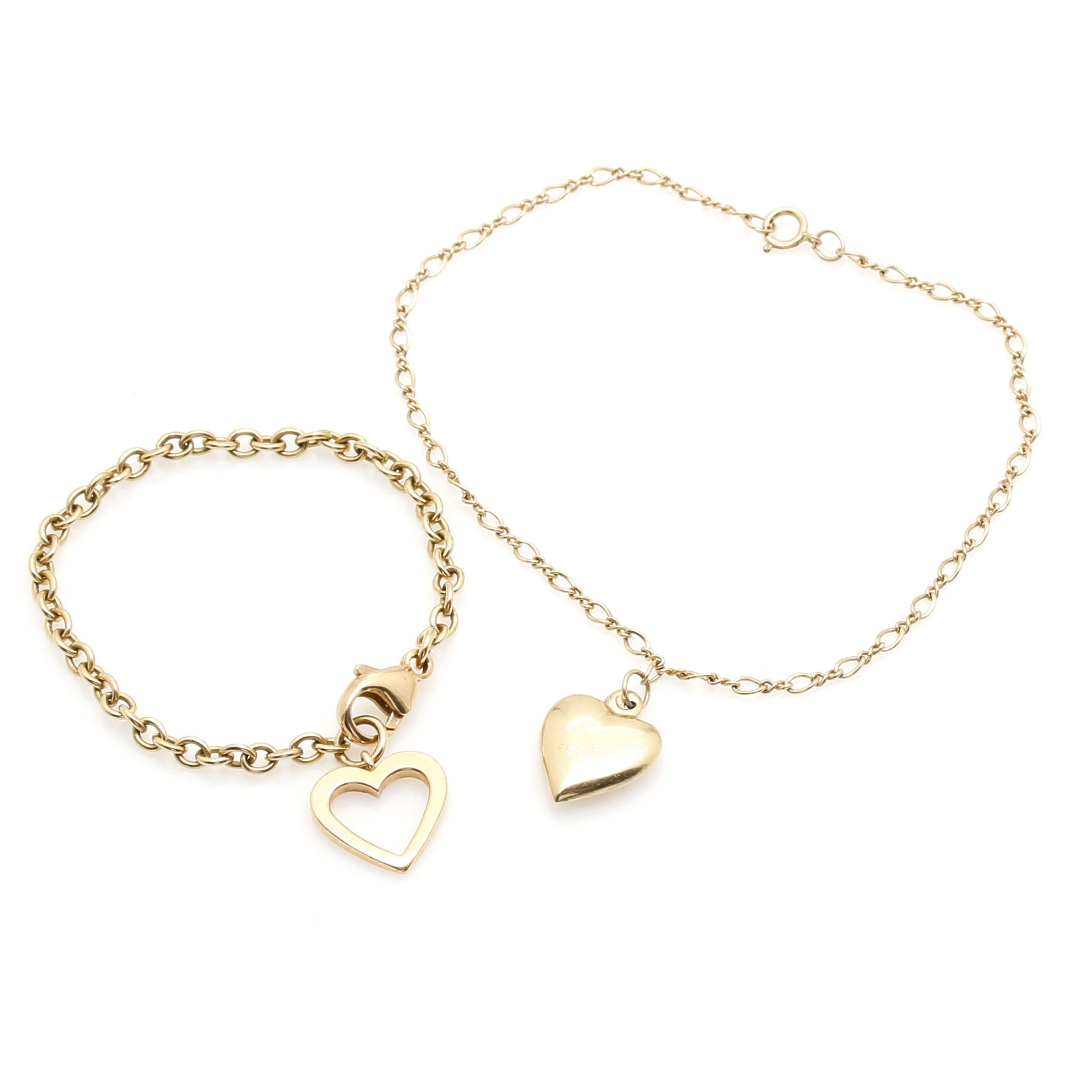 14K Yellow Gold Heart Charm Bracelets