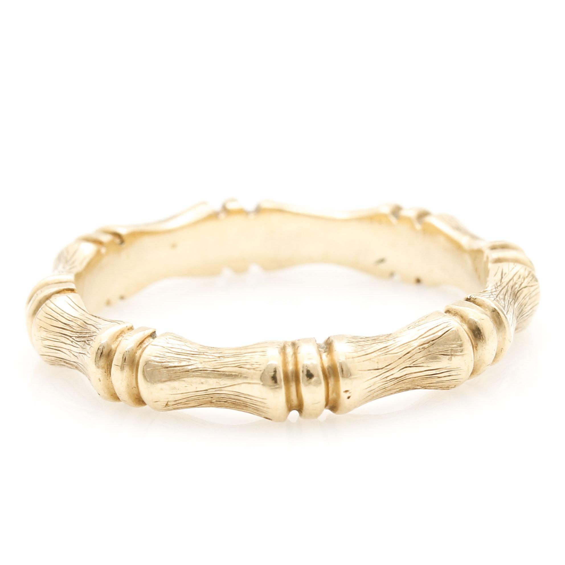 14K Yellow Gold Bamboo Band Ring