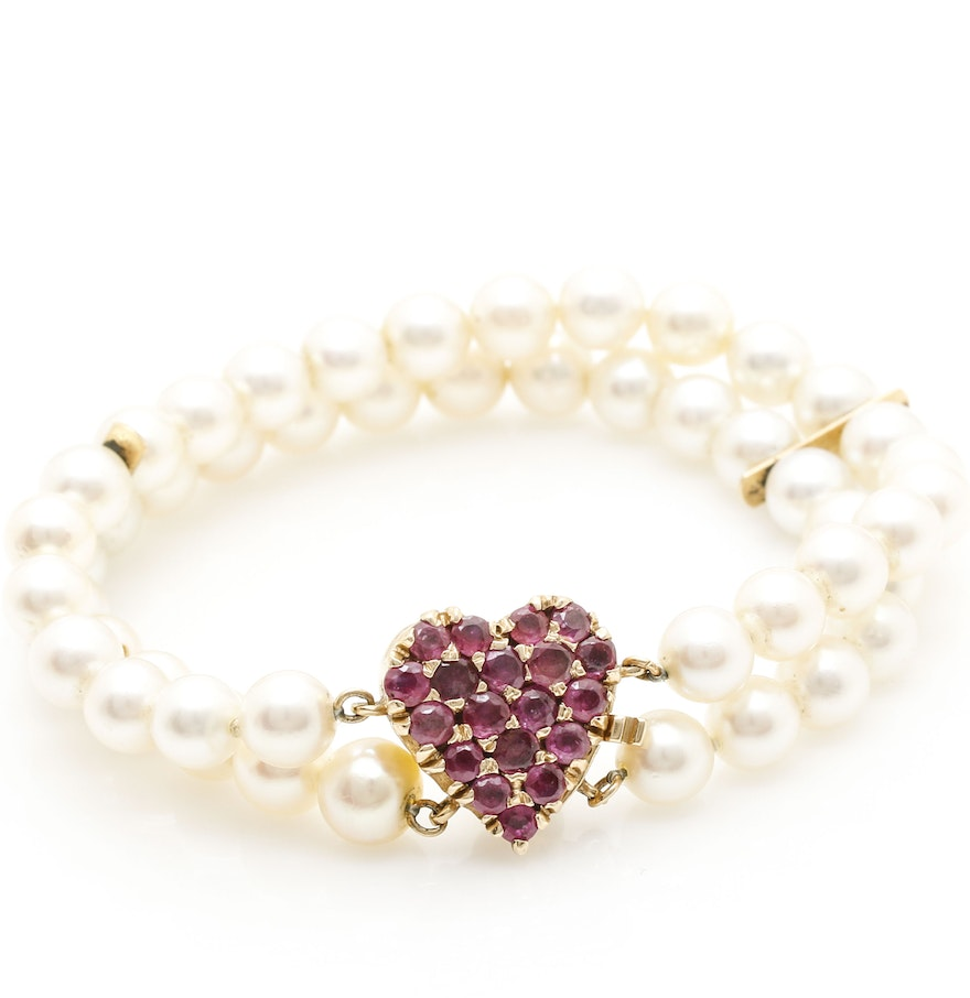 14k Yellow Gold Ruby And Pearl Heart Clasp Bracelet