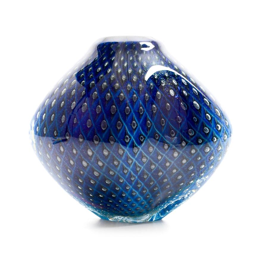 Robert Eickholt Signed Hand Blown Vase Ebth