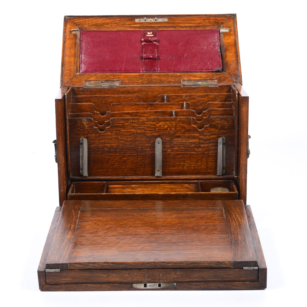 Antique Wooden Travel Writing Desk