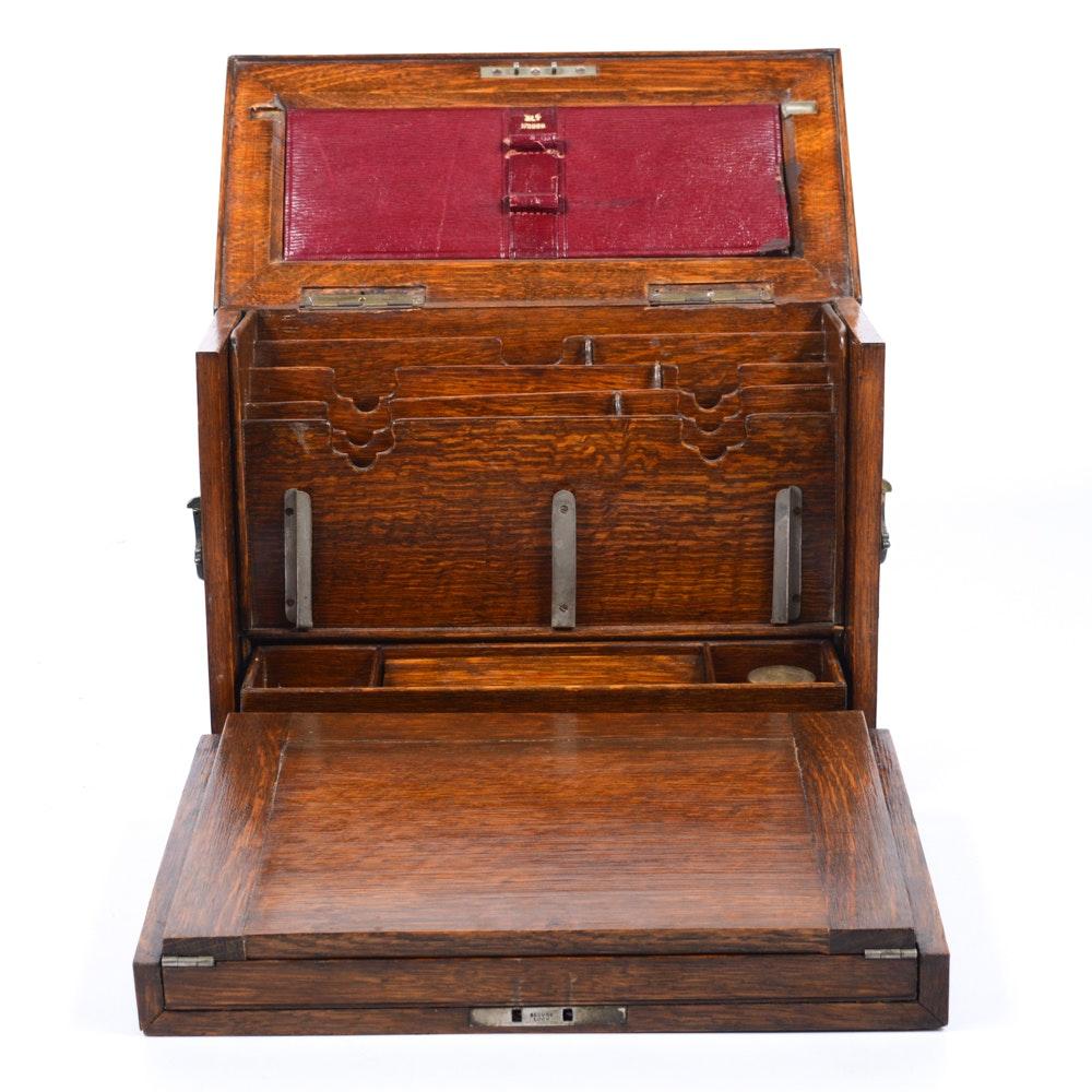 Travel Writing: Antique Oak Travel Writing Desk : EBTH
