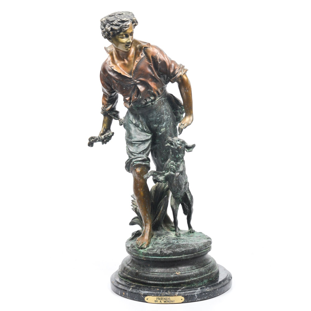 """Friends"" Bronze Sculpture by August Moreau"