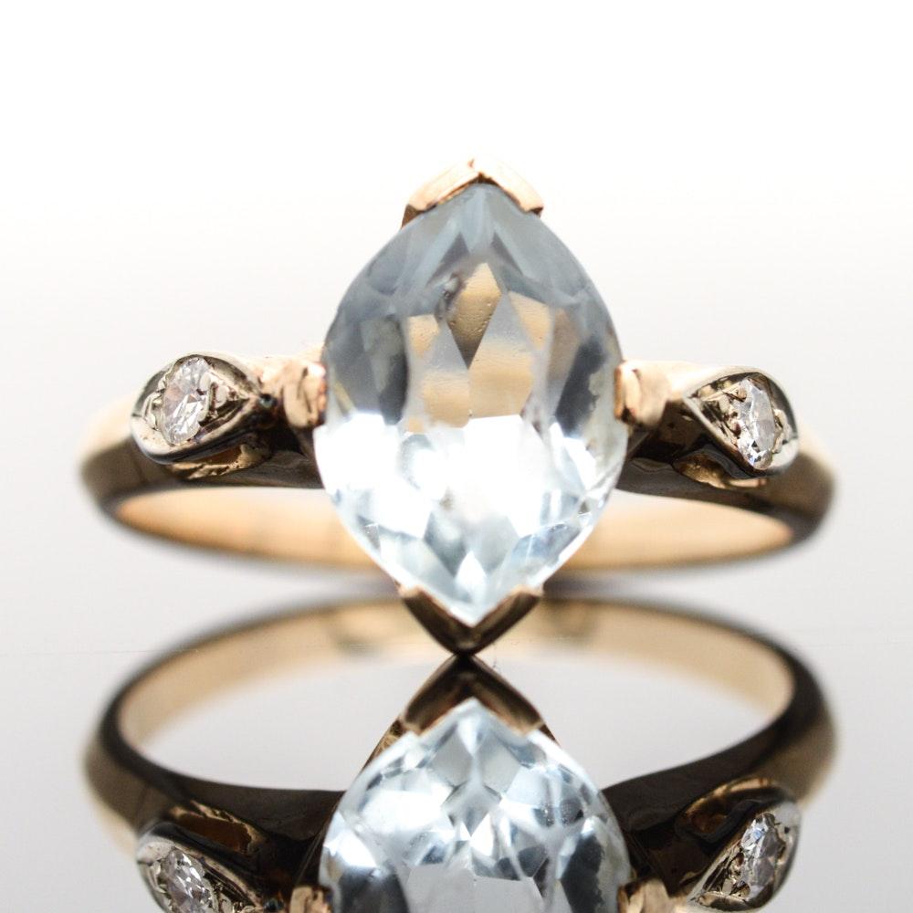 14K Yellow Gold, Aquamarine and Diamond Ring