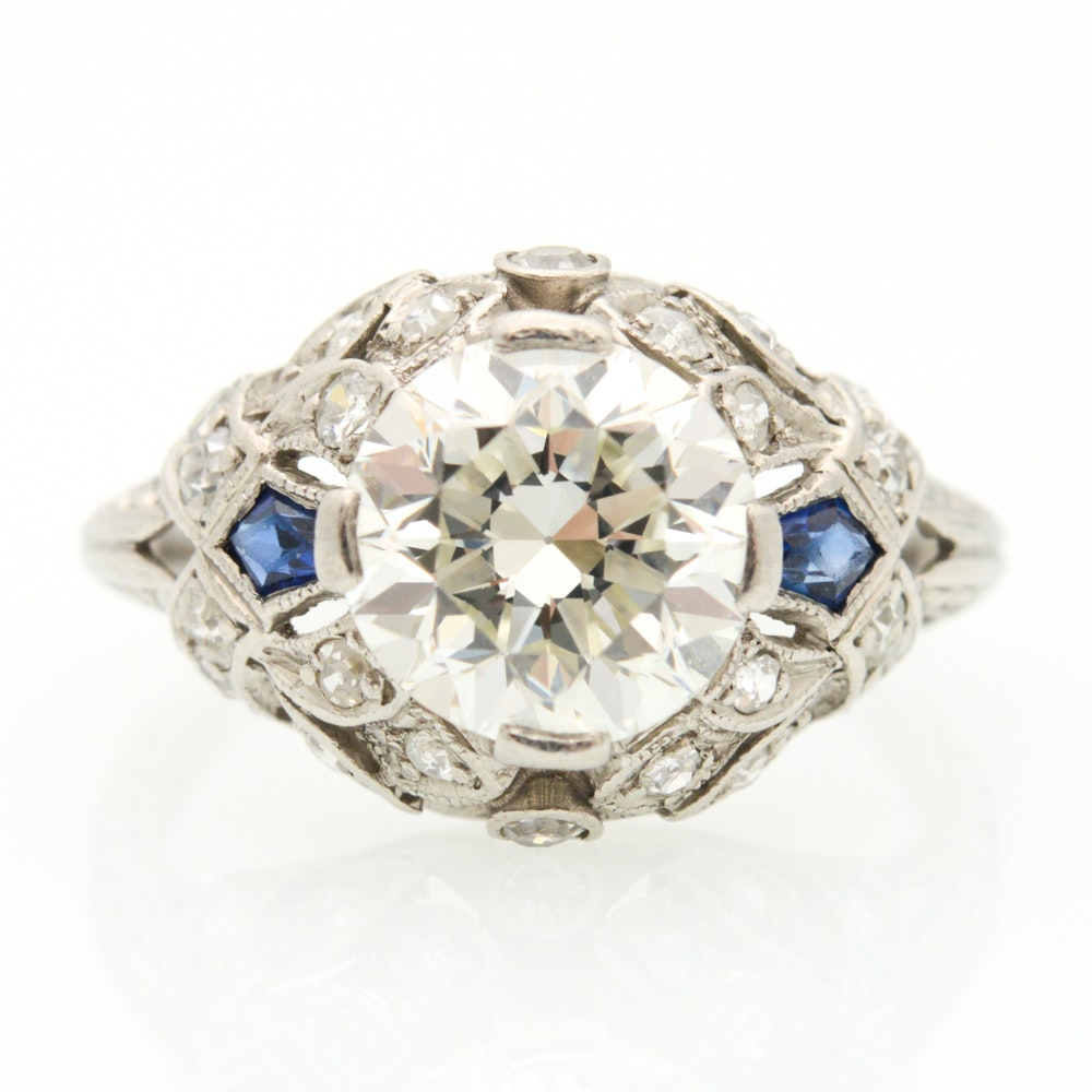 Edwardian Platinum  2.17 CTW Diamond and Sapphire Ring