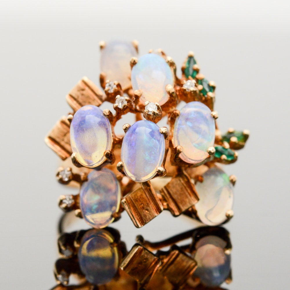 14K Yellow Gold, Opal, Emerald and Diamond Ring