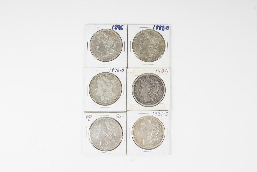 Set of Six Morgan Silver Dollars