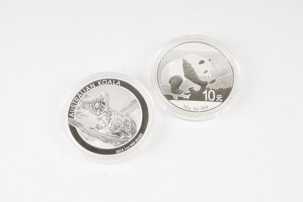 2015 Australia Silver Koala and 2016 Chinese Silver Panda