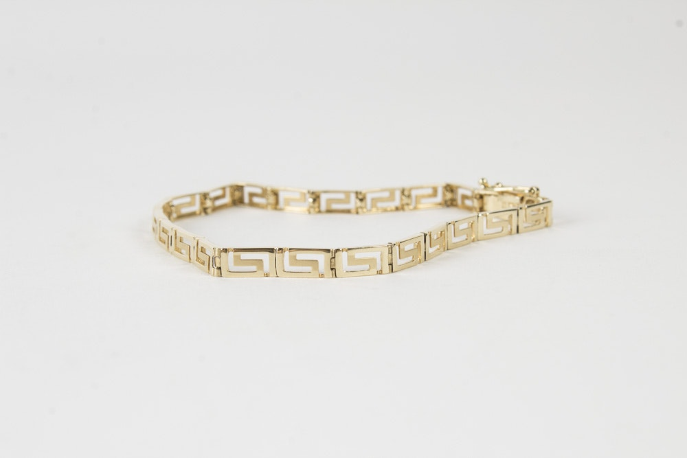 14K Yellow Gold Greek Key Link Bracelet