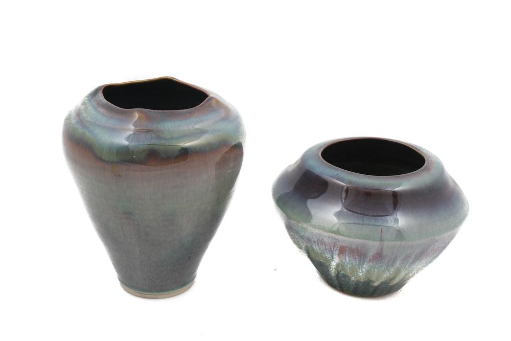 Pair of Signed Campbell Ceramic Vases