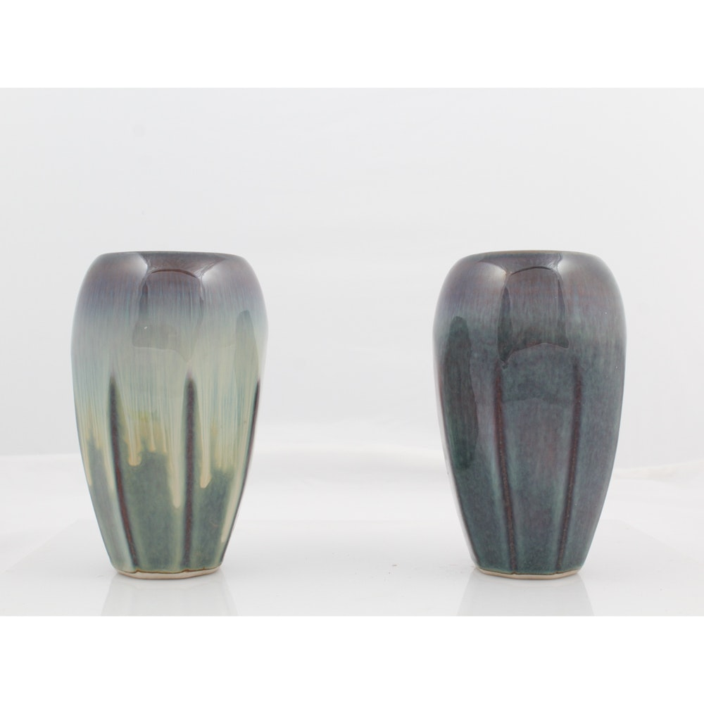 Pair of Signed Cambell Ceramic Vases