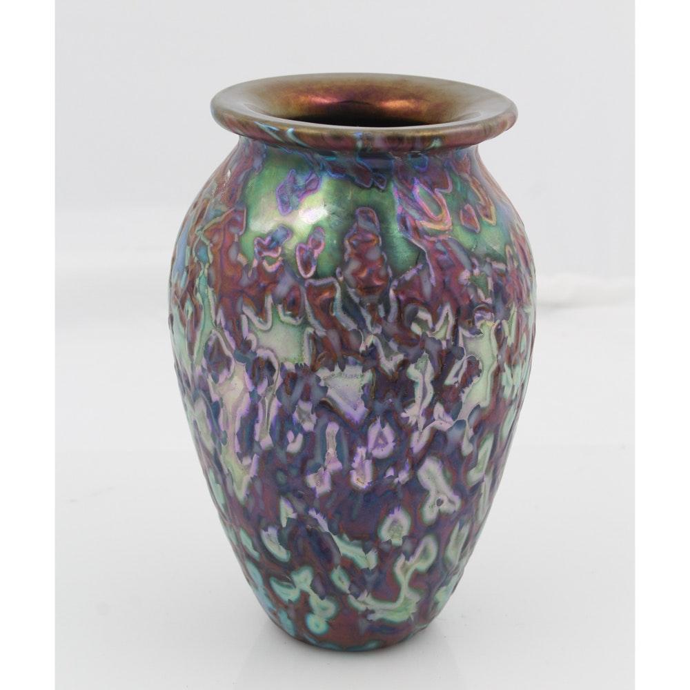Original Signed Eickholt Glass Vase