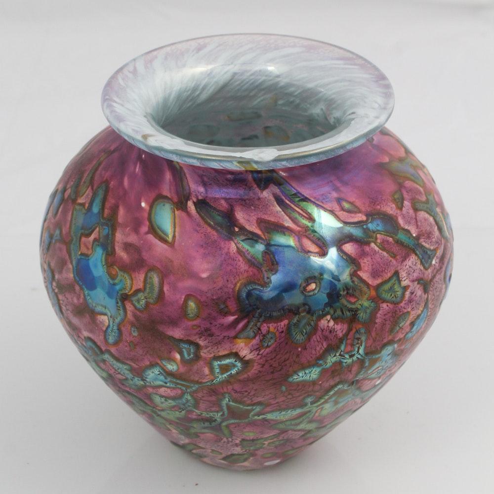 Signed Eickholt Glass Vase