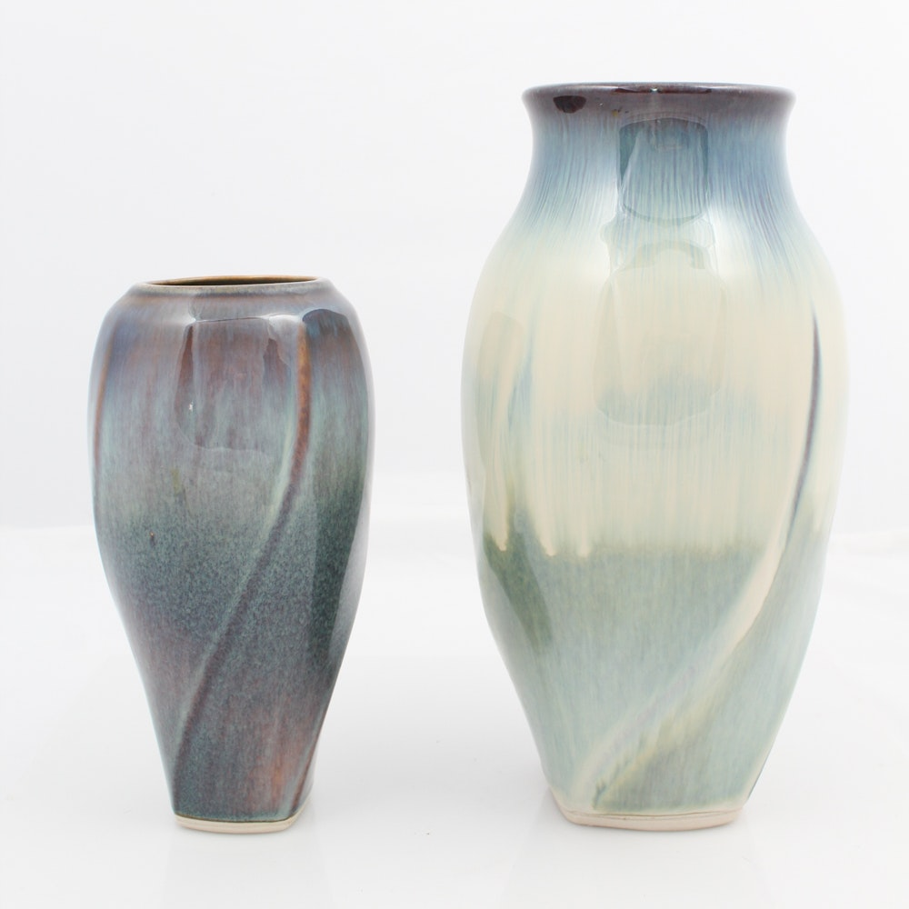 Set of Two Signed Campbell Ceramic Vases