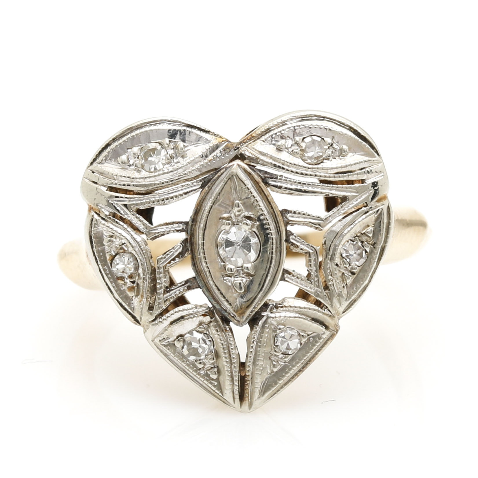 14K White and Yellow Gold Diamond Heart Ring
