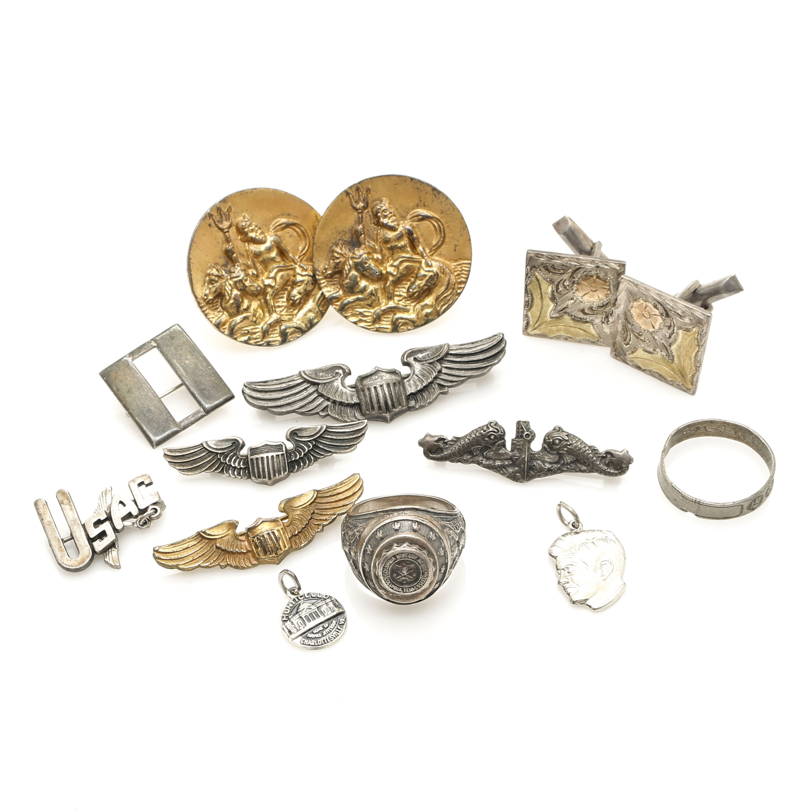 Sterling Silver Collection of Military Pins, Cufflinks and Rings