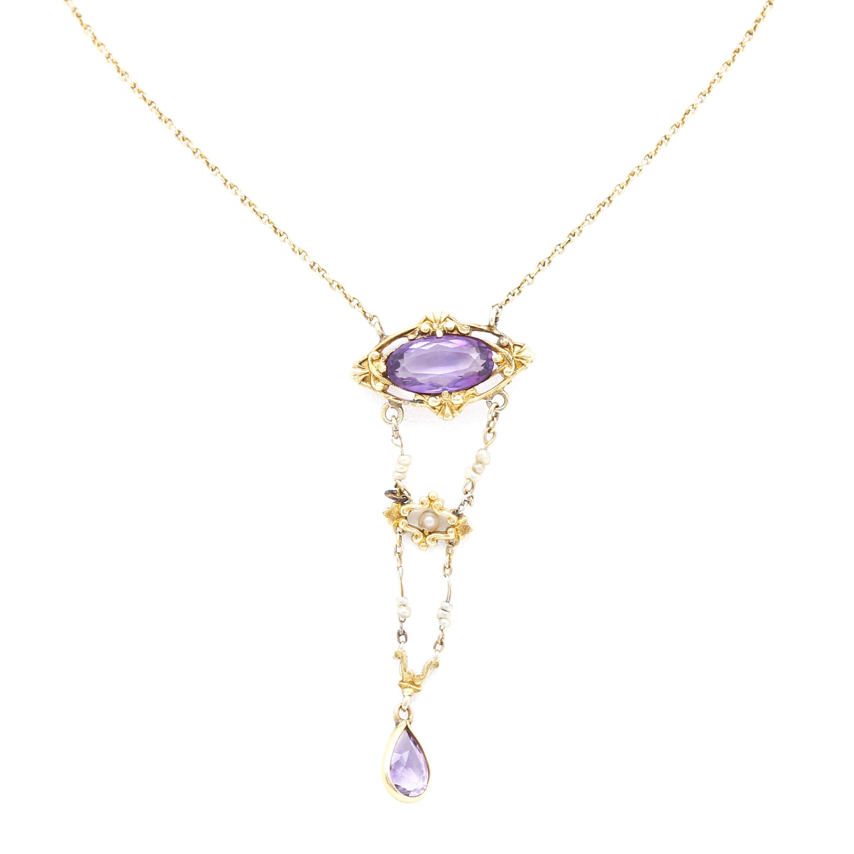 10K and 14K Yellow Gold Amethyst and Seed Pearl Linear Drop Pendant Necklace