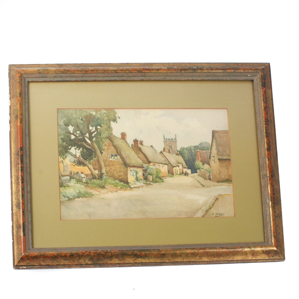 A. Marc Watercolor on Paper of an English Village