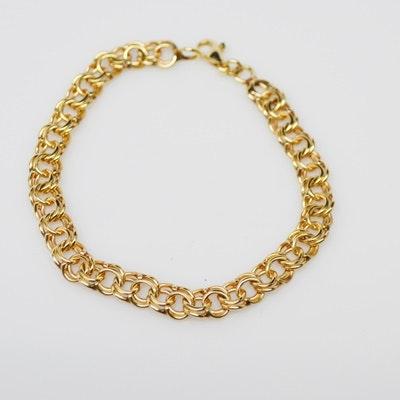 14K Yellow Gold Double Chain Link Bracelet