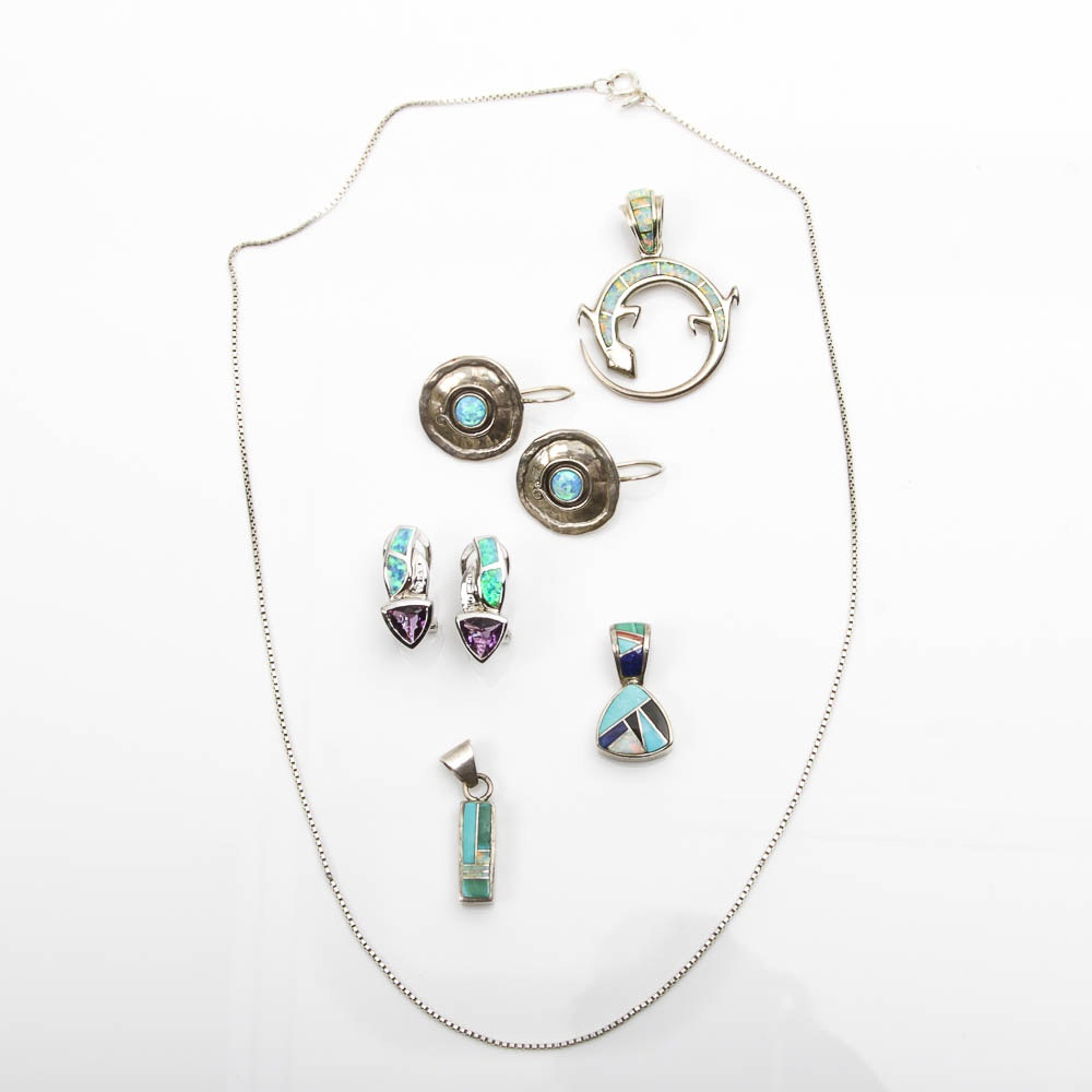 Collection of Sterling Silver and Stone Inlay Jewelry